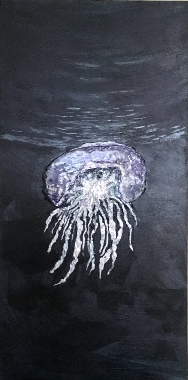 Jellyfish painting with raised texture and iridescent paint