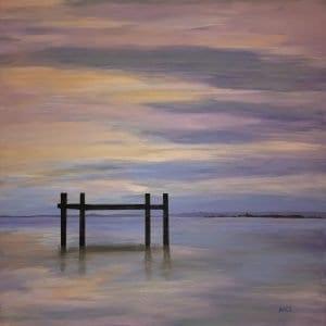 Wynnum Sunset Boat Stand Acrylic Painting